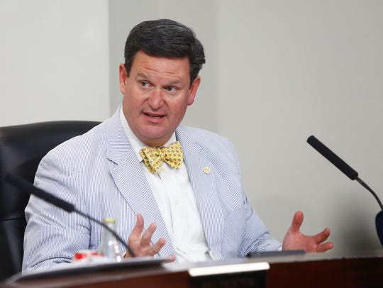 Leon County Commissioner John Dailey speaks at a hearing