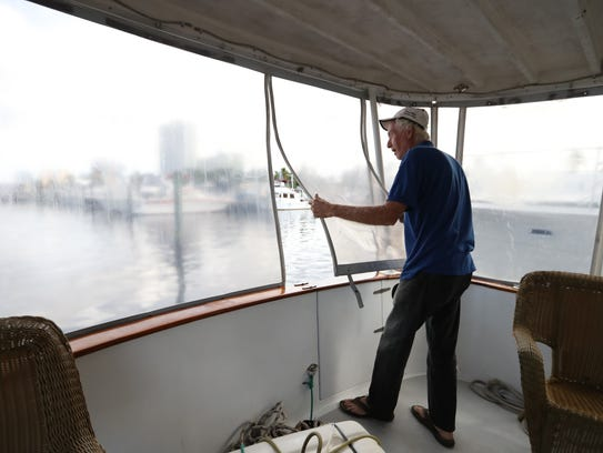 "Dave Cooper conducts a walk-through of his ship ""Swan"