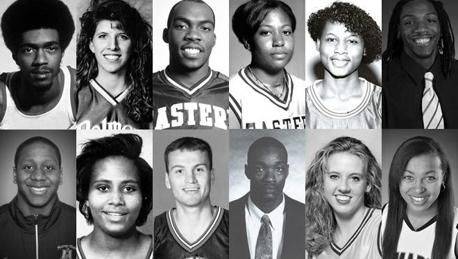 "Top, from left: James ""Fly"" Williams, Austin Peay; Aimee Smith-Brown, Belmont; Henry Domercant, EIU; Chrissy Roberts, EKU; Tracy (Linton) Broom, Jacksonville State; Kenneth Faried, Morehead State. Bottom: Isaiah Canaan, Murray State; Gray C. Harris, Southeast Missouri; Jason Holmes, SIU-Edwardsville; Carlos Rogers, Tennessee State; Diane Seng, Tennessee Tech; Heather Butler, UT Martin"