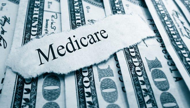 Medicare paper headline on hundred dollar bills