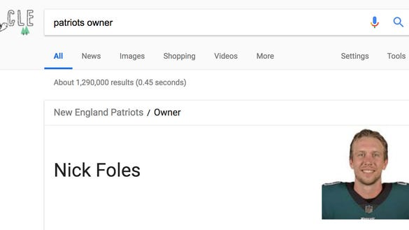Patriots' new owner is Nick Foles, according to Google