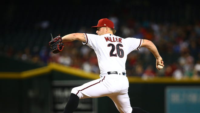 Jul 5, 2018; Phoenix, AZ, USA; Arizona Diamondbacks pitcher Shelby Miller in the first inning against the San Diego Padres at Chase Field. Mandatory Credit: Mark J. Rebilas-USA TODAY Sports