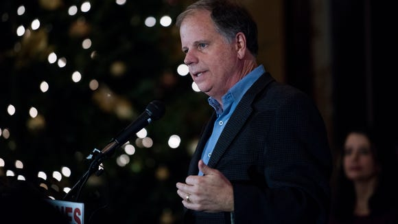 U.S. Senate candidate Doug Jones speaks at a campaign stop in Cullman, Ala. on Wednesday evening December 6, 2017.