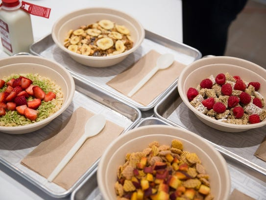 Cereal bowls can be served with milk or soft-serve