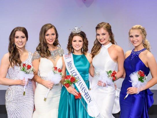 Top 5 Miss Louisiana Outstanding Teen contestants.