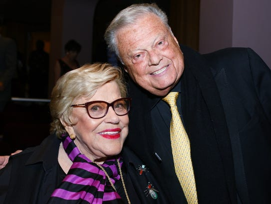 Singer-actress and former Palm Springs International Film Festival board member Kaye Ballard appears with Festival Board Chairman Harold Matzner