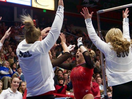 Autumn Jorgensen celebrates with her teammates following