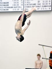 Dover's Jed Pequignot performs a dive in the semifinal round of the YAIAA Diving Championship at Central York last season.