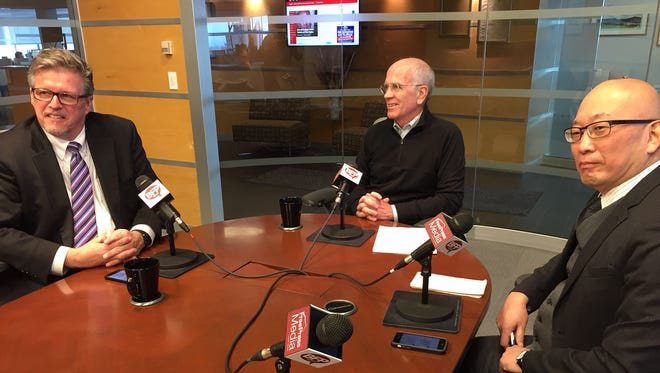 Vermont Rep. Peter Welch, center, joins Burlington Free Press Publisher & President Al Getler, and Reader Engagement Editor Aki Soga, Thursday at The Table.
