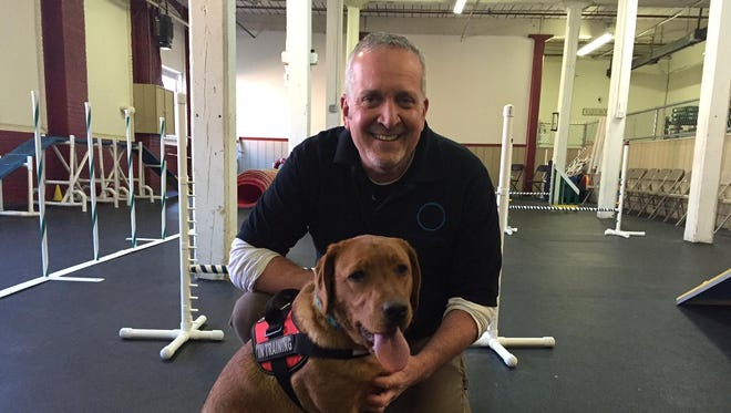 John McWilliams and therapy dog Truvia at the obstacle course at Paws-itive Experience in Rockaway. McWilliams, a professional dog trainer since 1982, is training the pup for Glucodogs, Inc., a 501(c)3 charitable organization whose mission is to get trained Diabetic Alert Dogs to Type 1 Diabetics regardless of their ability to pay.