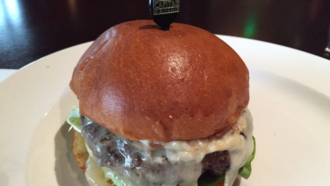 The Kona-crusted Wagyu burger at The Capital Grille