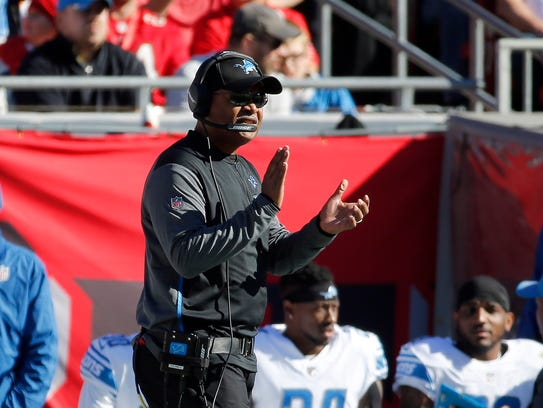 Dec 10, 2017; Tampa, FL, USA; Lions coach Jim Caldwell