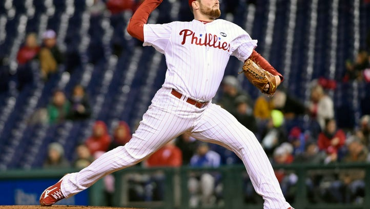Phillies starting pitcher Alec Asher throws the ball