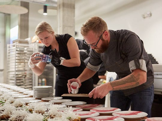 Natalie Santelli photographs John Lawyer plating the third course at Eat+Drink's December Secret Supper Saturday, December 31, 2016. Lawyer will be the special chef at a June pairing.