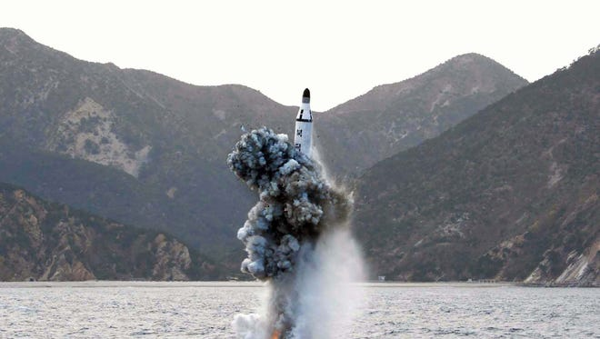 This picture released from North Korea's official Korean Central News Agency  on April 24, 2016 shows the underwater test-fire of a strategic submarine ballistic missile at an undisclosed location in North Korea on April 23, 2016.