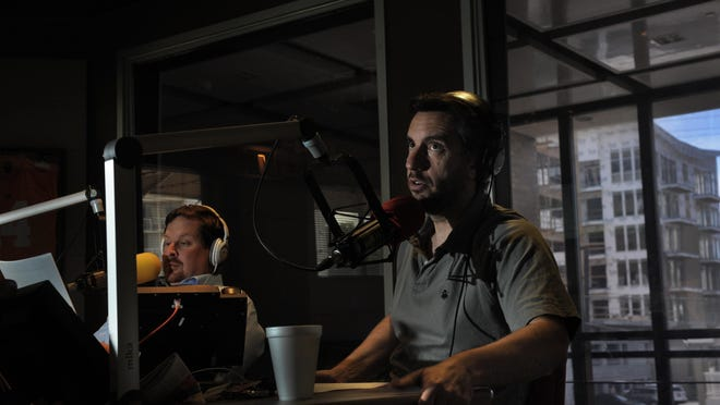 Clay Travis, right, says his live daily webcast series will stream simultaneously across several platforms and then be available later as an audio podcast.