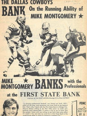 An ad promoting Dodge City High School football star Mike Montgomery. SUBMITTED PHOTO