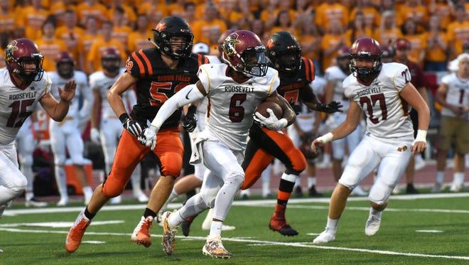 Roosevelt High School Tyler Feldkamp (6) runs the ball during a game against Washington High School on Saturday, Sept. 1, 2018 at Howard Wood Field in Sioux Falls, S.D.