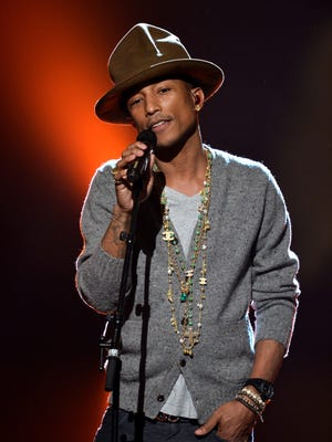Pharrell Williams at the Los Angeles Convention Center on Jan. 27, 2014.