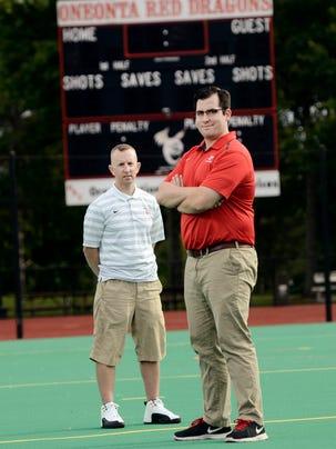 Oneonta lacrosse coach Dan Mahar, left, took a stand