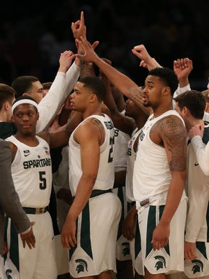 Michigan State takes the floor for their game against Michigan in the Big Ten Tournament semifinal Saturday, March 3, 2018 at Madison Square Garden in New York.