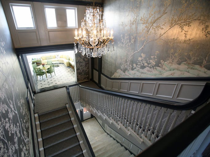The grand staircase in this 1914 mansion for sale, on 3.75 acres on Cooper Road in Scarsdale, photographed March 4, 2014.