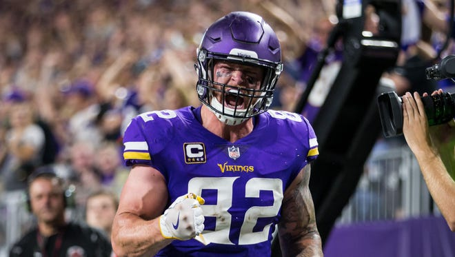 Kyle Rudolph celebrates a score for the Vikings.