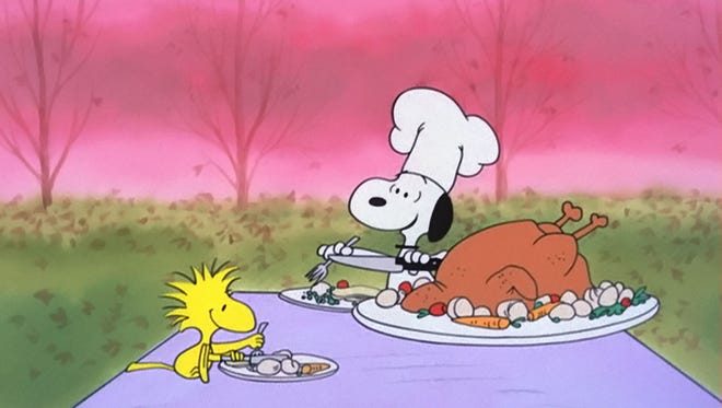 "Snoopy plays chef in ""A Charlie Brown Thanksgiving,"" released in 1973."