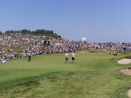 An overall view of the Whistling Straits' 1st green at the PGA Championship.