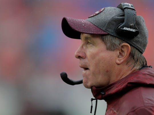 Washington Redskins interim head coach Bill Callahan watches the second half of an NFL football game against the San Francisco 49ers, Sunday, Oct. 20, 2019, in Landover, Md. (AP Photo/Julio Cortez)