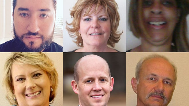 A composite image of the school board candidates running for District B and District F