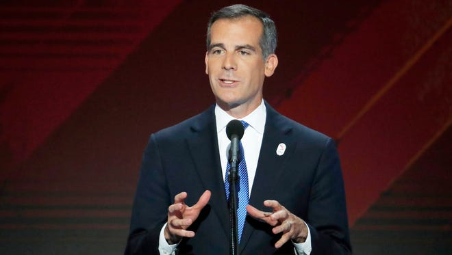 Los Angeles Mayor Eric Garcetti speaks during the final day of the Democratic National Convention in Philadelphia on July 28, 2016.