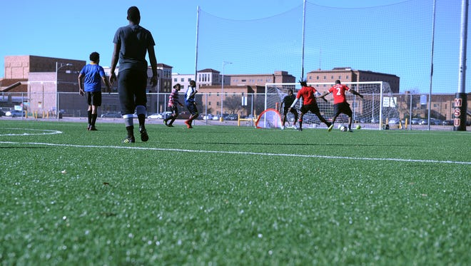 Men play soccer on the Midwestern State turf fields Sunday, Jan. 29, 2017.