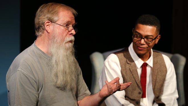 "Director Randall Tosh, left, answers a question about the Verona Studio's production of ""St. Nicholas,"" as actor Gregory Jolivette, who stars in the one-person show, listens during a Q-and-A with Statesman Journal reporters Tom Mayhall Rastrelli and Carlee Wright."