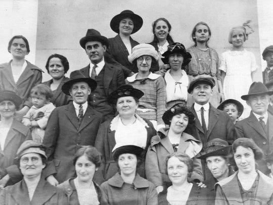 Anna Janowski, third row fifth from left, and Frieda Janowski, first row second from left, were in attendance on the dedication day in 1912.