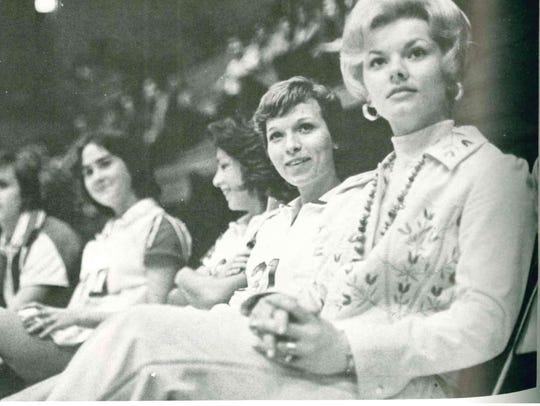 Sonja Hogg, right, was the first women's basketball