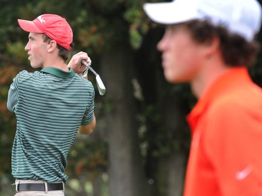 York Catholic's Nick Geiman tees off during the YAIAA individual golf championships at Briarwood Golf Club on Thursday, Sept. 25, 2014.   Jason Plotkin - GameTimePA.com