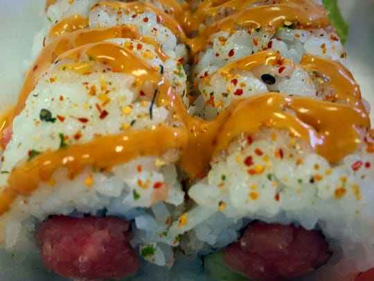 The Spicy Tuna roll ($4.70) features tuna and cucumber topped with spicy mayo.