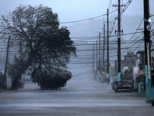 Rain from Hurricane Irma floods a street in Fajardo,