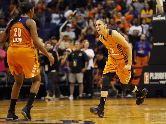 Phoenix Mercury guard Diana Taurasi (3) celebrates