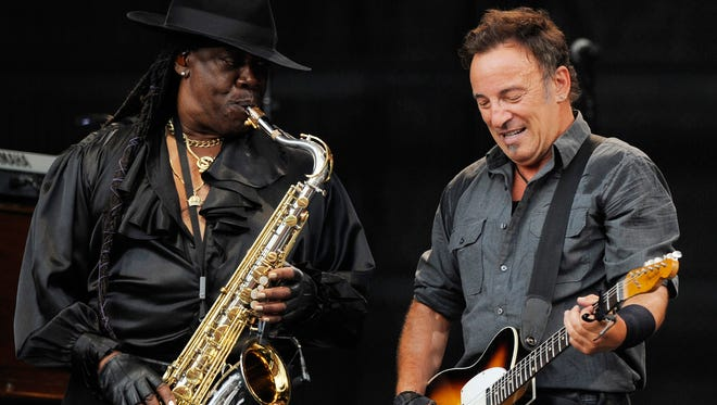 Bruce Springsteen, right, performs with the late saxophonist Clarence Clemons, left, in  Germany in 2009.