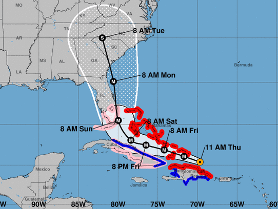 Hurricane Irma forecast track as of 11 a.m. September