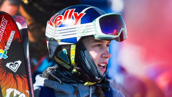 Kelly Sildaru, 13, watches for her score on the final run of the women's ski slopestyle at the Aspen X Games, Friday, Jan. 29, 2016, at Buttermilk Mountain in Aspen, Colo. The thirteen-year-old took home the gold medal.