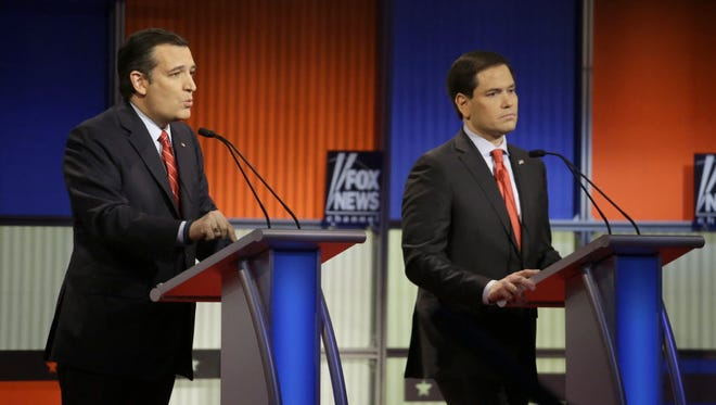 Ted Cruz and Marco Rubio at the Republican debate in Des Moines on Jan. 28, 2016.