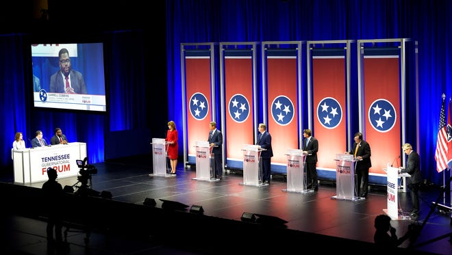 Gubernatorial candidates Beth Harwell, Bill Lee, Karl Dean, Randy Boyd and Craig Fitzhugh attend a candidate forum at Lipscomb's Allen Arena on Tuesday, May 15, 2018, in Nashville. Leadership Tennessee is the presenting sponsor of the forum.