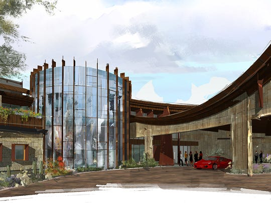 Artist rendering of Bighorn Clubhouse golf shop and entry.