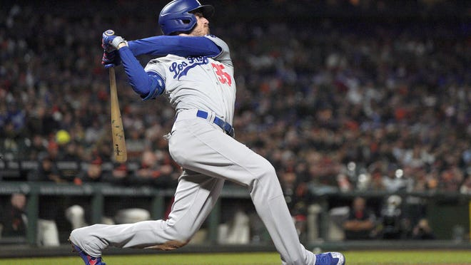 The Los Angeles Dodgers' Cody Bellinger (35) gets a hit against the San Francisco Giants during a game Sept. 27, 2019 in San Francisco.