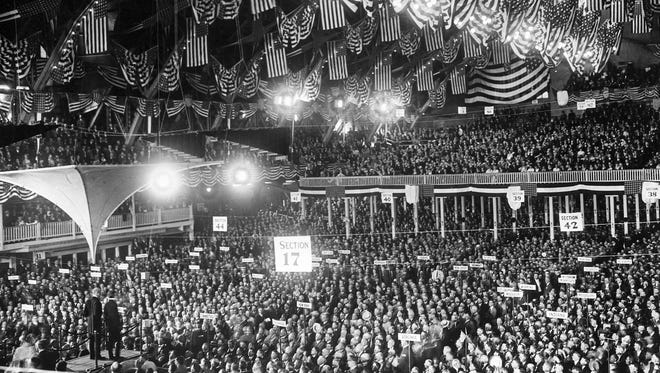 The opening of the Republican National Convention in the Coliseum in Chicago on June 8, 1920.