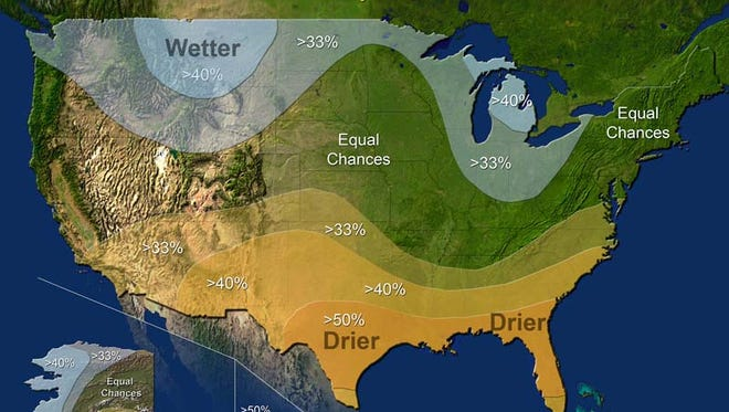 U.S. winter outlook for precipitation.
