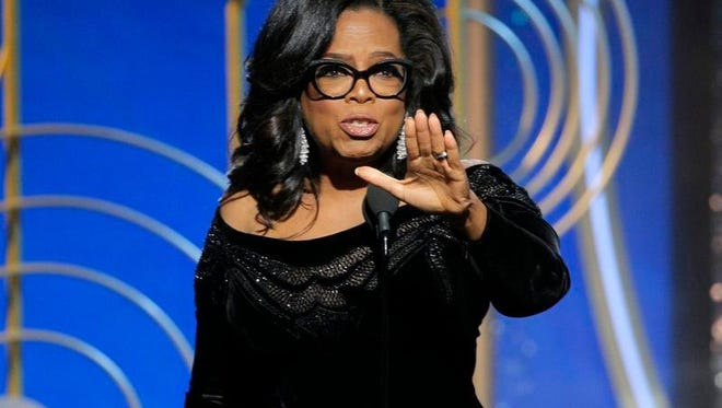 Oprah Winfrey accepting the Cecil B. DeMille Award at the 75th Annual Golden Globe Awards in Beverly Hills, Calif., on Sunday, Jan. 7, 2018.